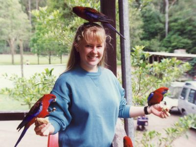 Me with crimson rosellas