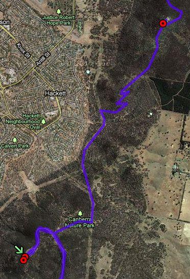Majura to Ainslie GPS track