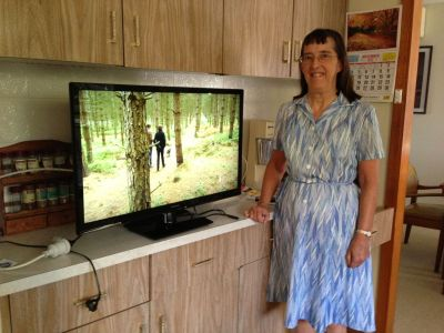 Mum with her new TV
