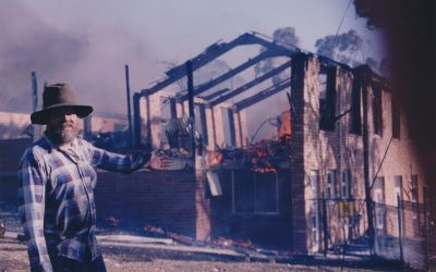 Church burnt down, January 1994 Bushfires