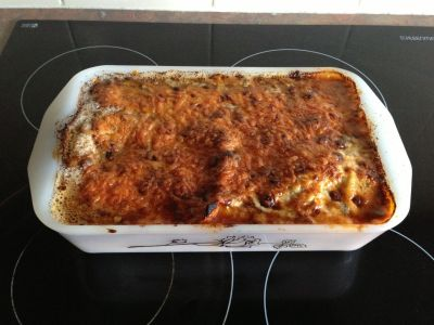 Bacon lasagna cooked