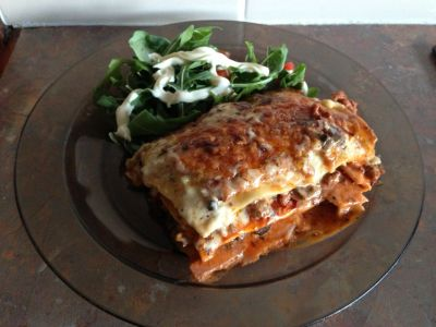 Bacon lasagna dinner