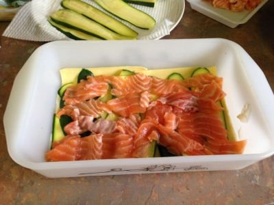 Salmon lasagna construction