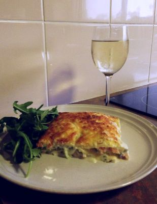 Salmon lasagna dinner