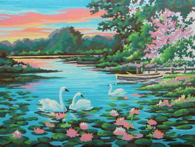 Paint by numbers swan lake