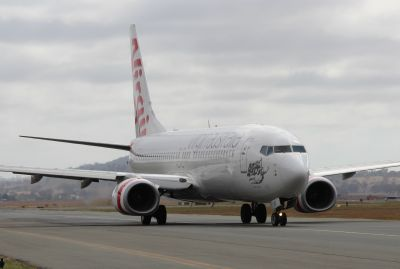 Aircraft on the taxi way (Virgin Australia 737 VH-YIO)