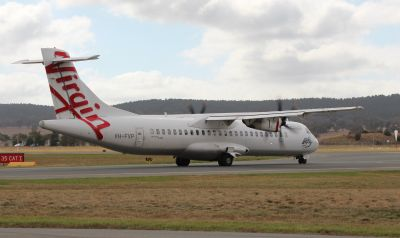Aircraft on the taxi way (Virgin Australia ATR-72 VH-FVP)