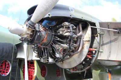 Old air force Caribou engine (VH-VBA)
