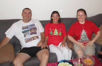 David, Mum and me at Christmas