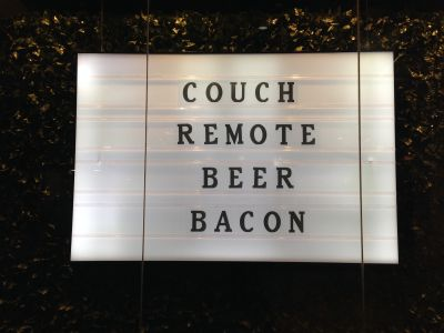 Couch, remote, beer, bacon