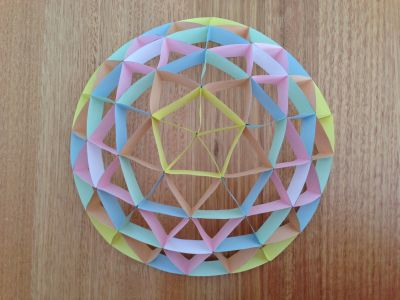 Four frequency icosahedron with five faces glued