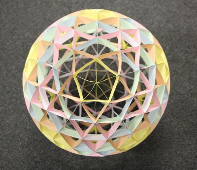 Four frequency paper geodesic icosahedron