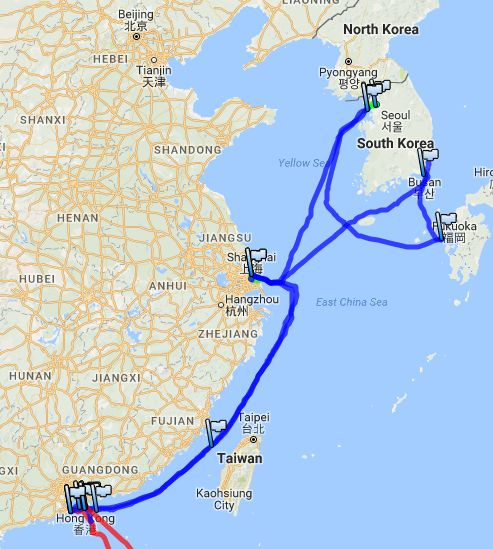 East China Sea GPS track