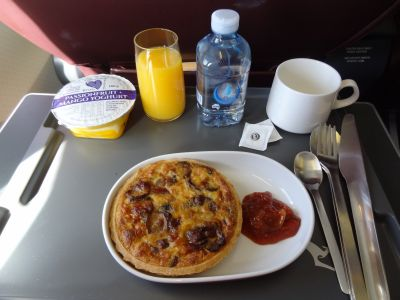 Qantas business class quiche