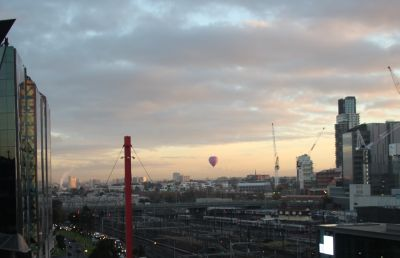 Hot air balloon over Melbourne