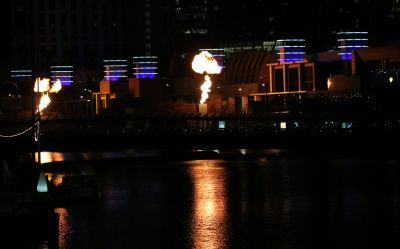 Flame bursts outside the Convention Centre