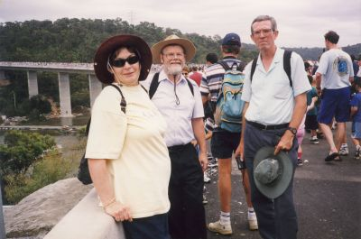 Diana, Dad and Graham about to walk across the new Woronora Bridge