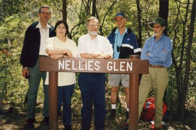 Bushwalking group walk to Nellies Glen in Blue Mountains.  Graham and Diana, Dad, Jeff Anderson, Garry Le Clerc