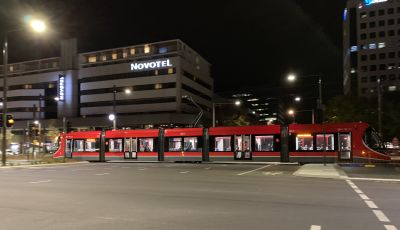Canberra tram at night
