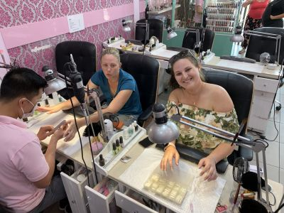 Kit and Katie getting their nails done