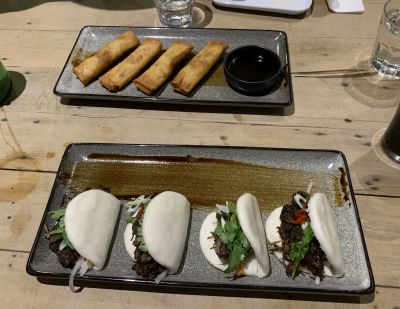 Duck Inn bao rolls and spring rolls