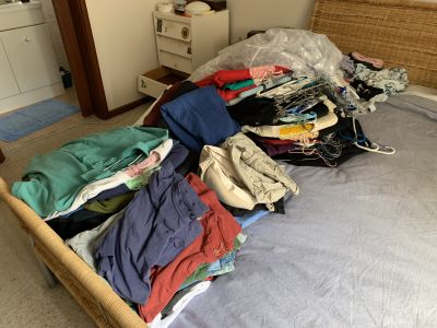 My clothes laid out on the bed