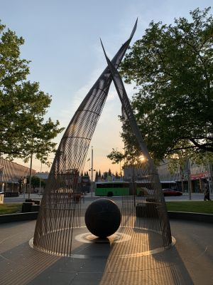 Sail sculpture sunset