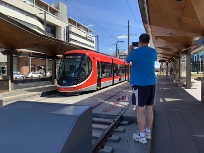 David photographing the tram