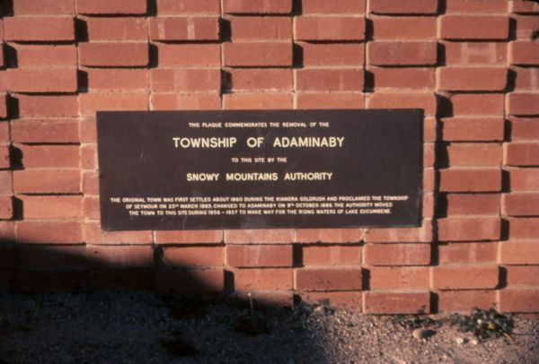 Adaminaby plaque - 1961