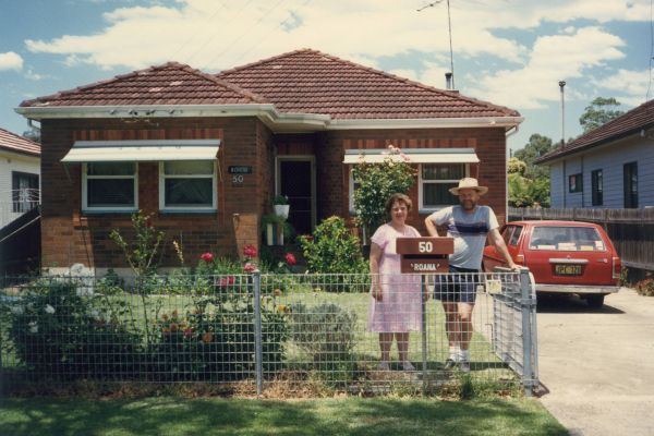 Nana and Dad and the new letterbox