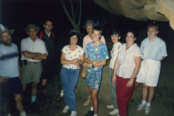 Group from St Clements Bushwalking Club sheltering from the rain on Lady Carrington Drive. Ted, ?, Graham Reid, Evelyn Street, Peter Hanna, David, Pam Hanna, Diana Reid, Karen