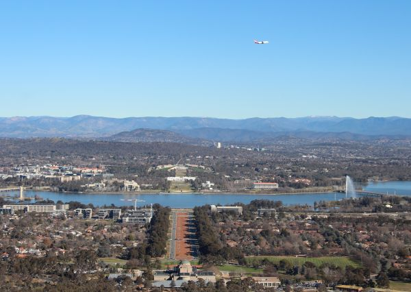 VH-OEJ over Canberra