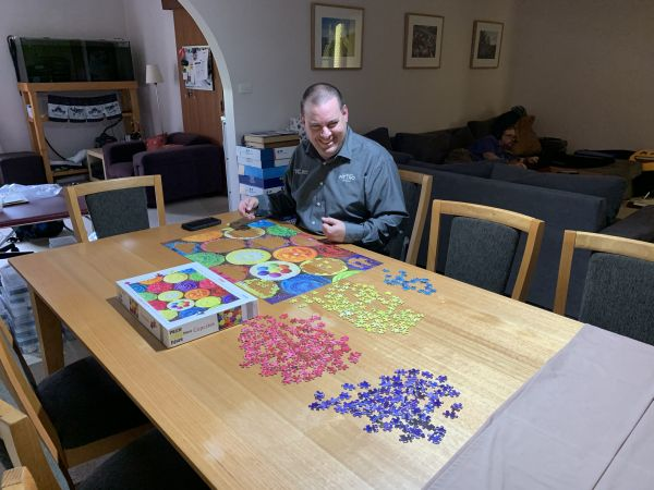 David doing cupcake jigsaw