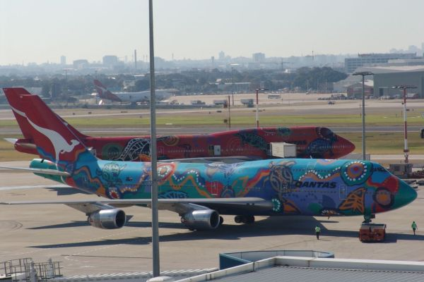 VH-OEJ and VH-EBU at Sydney Airport