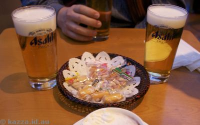Beer and nibbles at Asahi Beer Tower