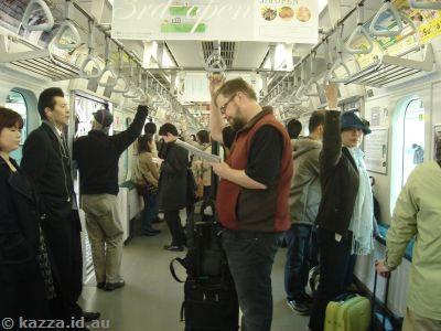 Stu on the train between Akihabara and Tokyo stations