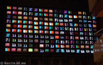 Massive wall of TVs in Canal City