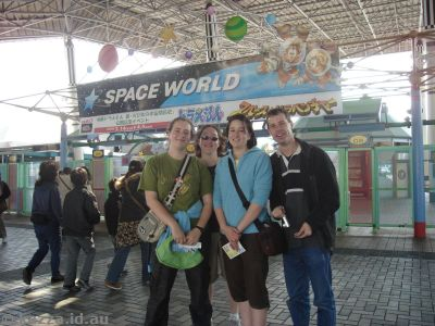 The gang outside Space World