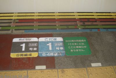 Station labelling - colour coding for the types of trains