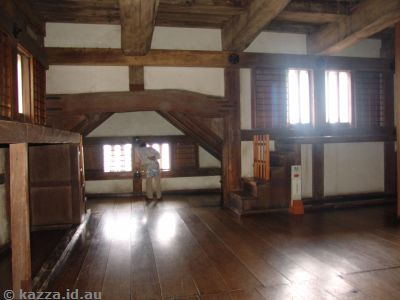 Interior of Himeji Castle - not showing the crowds in here!