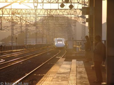 Our train to Osaka in the sunset
