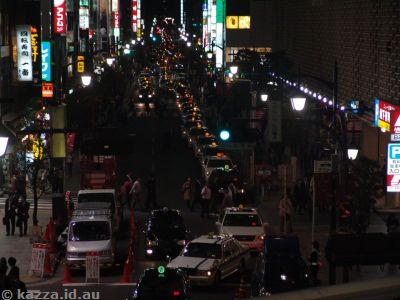 Friday nights mean taxis as far as the eye can see outside every station in Tokyo