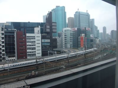 Shinkansen from our hotel room in Shimbashi