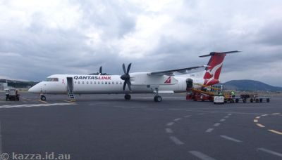 The Dash-8 we flew back to Canberra in