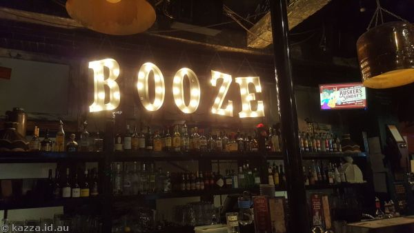 Booze!  Sign at Bad Grannies Pub