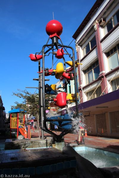 The famous bucket fountain in Cuba Street