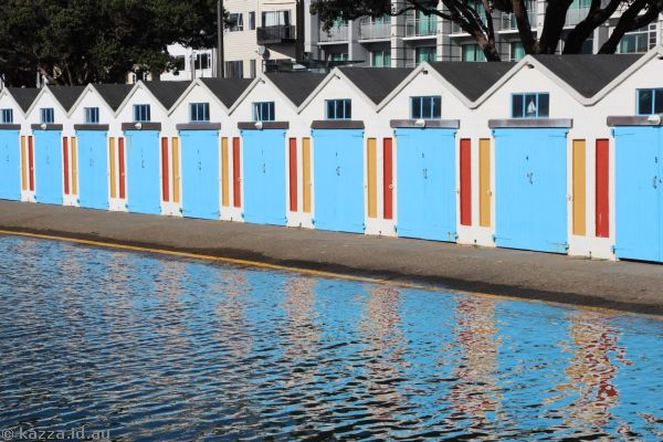 Colourful boat sheds on Oriental Parade