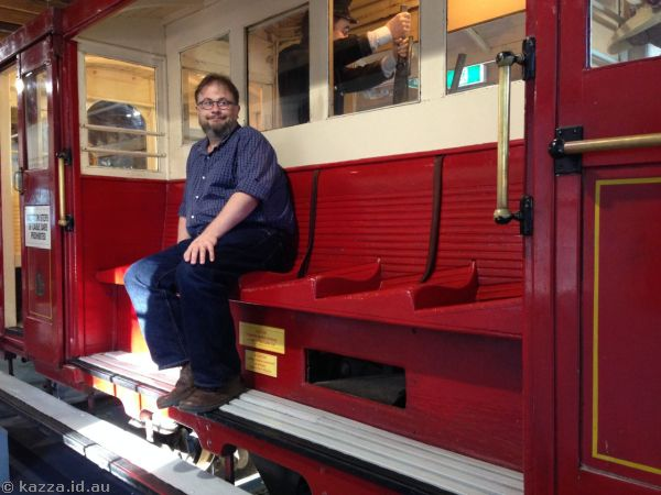 Stu on an old cable car in the Cable Car Museum