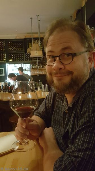 Stu enjoying a Pinot Noir at Noble Rot Wine Bar