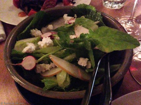 Accompanying dinner was a lovely salad with goats cheese
